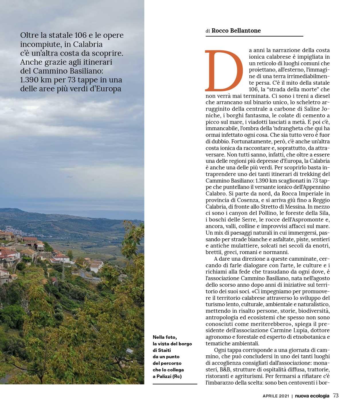 Rassegna Stampa Cammino Basiliano: La Nuova Ecologia